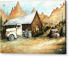 Ghost Town Nevada - Watercolor Art Acrylic Print by Art America Gallery Peter Potter