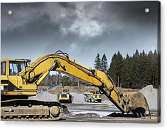 Giant Bulldozers In Action Acrylic Print by Christian Lagereek