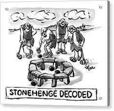 Giant Cavemen Play Croquet Using The Stonehenge Acrylic Print