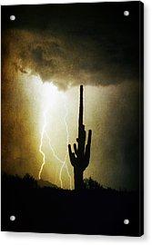 Giant Saguaro Lightning Spiral Fine Art Photography Print Acrylic Print by James BO  Insogna