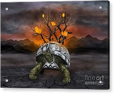 Giant Turtle Warrior In The Old Metal Armor... Acrylic Print