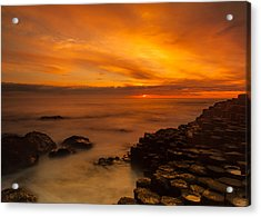 Giants Causeway Sunset Acrylic Print by Craig Brown