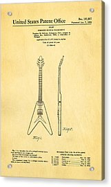 Gibson Flying V Guitar Patent Art 1958 Acrylic Print by Ian Monk