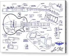 Gibson Les Paul Blueprint Drawing Acrylic Print by Jon Neidert