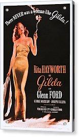 Gilda, Rita Hayworth On 1950s Poster Acrylic Print by Everett