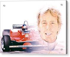 Gilles Villeneuve  Ferrari T5  1980 Acrylic Print by Alberto Ponno