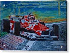 Gilles Villeneuve Acrylic Print by Jose Mendez