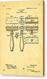 Gillette Safety Razor Patent Art 1904 Acrylic Print by Ian Monk