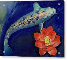 Gin Matsuba Koi And Lotus Acrylic Print by Michael Creese