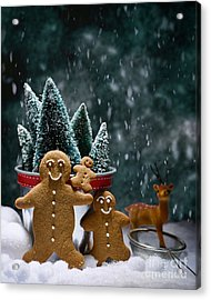 Gingerbread Family In Snow Acrylic Print by Amanda Elwell