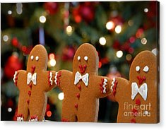 Gingerbread Men In A Line Acrylic Print by Amy Cicconi