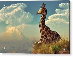 Giraffe And Distant Mountain Acrylic Print
