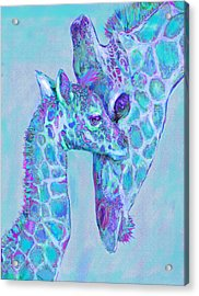 Giraffe Shades  Purple And Aqua Acrylic Print