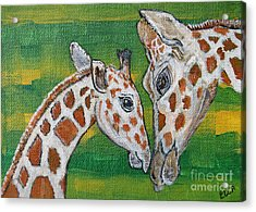 Giraffes Artwork - Learning And Loving Acrylic Print