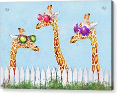 Giraffes In Sunglasses Acrylic Print by Jane Schnetlage