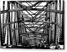 Girders Over The Mississippi In Black And White Acrylic Print