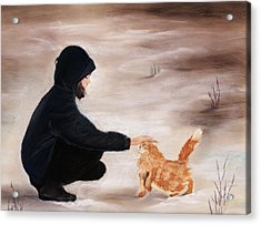 Girl And A Cat Acrylic Print