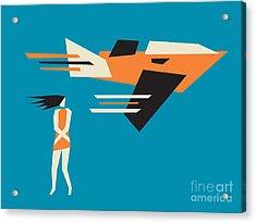 Girl And Airplane Acrylic Print by Igor Kislev