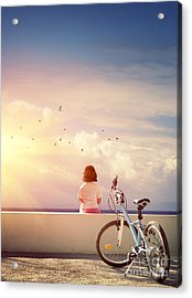 Girl And Bicycle Acrylic Print by Carlos Caetano
