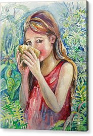 Girl And Coconut Acrylic Print