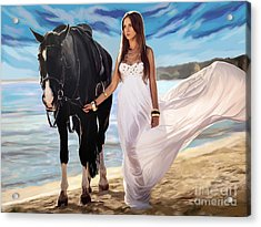 Acrylic Print featuring the painting Girl And Horse On Beach by Tim Gilliland