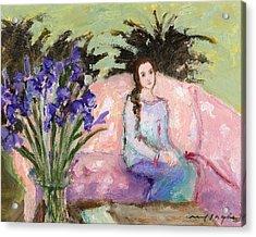 Girl And Iris Acrylic Print by J Reifsnyder