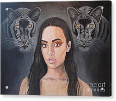 Girl And Panther Acrylic Print