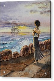 Acrylic Print featuring the painting Girl And The Ocean Sailing Ship by Irina Sztukowski