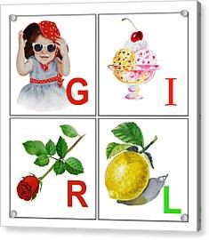 Girl Art Alphabet For Kids Room Acrylic Print by Irina Sztukowski
