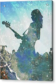 Acrylic Print featuring the digital art Girl Band Guitarist by John Fish