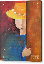 Acrylic Print featuring the painting Girl Behind The Door by Nereida Rodriguez