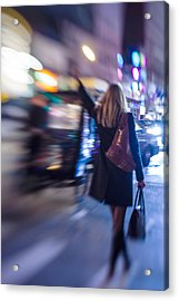 Girl Catching A Taxi In Manhattan Acrylic Print