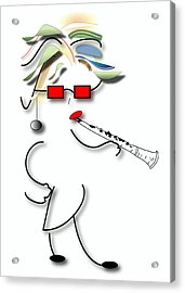 Acrylic Print featuring the digital art Girl Clarinet Player by Marvin Blaine