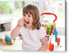 Girl Eating French Fries Acrylic Print by Aberration Films Ltd