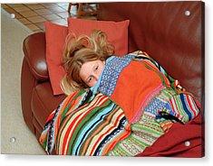 Girl Feeling Unwell Acrylic Print by Cc Studio/science Photo Library
