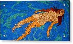 Girl Floating In Water Acrylic Print by Rachel Van der pol
