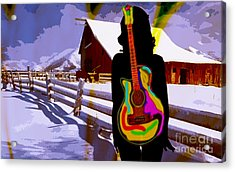 Girl Guitar And Ranch Acrylic Print by Marvin Blaine