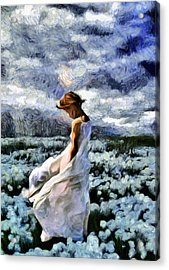 Girl In A Cotton Field Acrylic Print