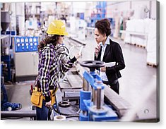 Girl In A Factory Working With Her Woman Boss Acrylic Print by Milanvirijevic