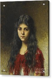 Girl In A Red Shawl Acrylic Print by Celestial Images