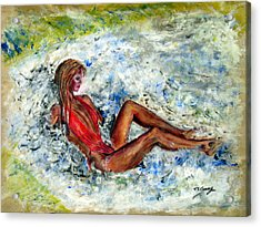 Girl In A Red Swimsuit Acrylic Print by Tom Conway