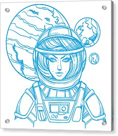 Girl In A Spacesuit For T-shirt Design Acrylic Print