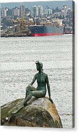 Girl In A Wetsuit Statue, Stanley Park Acrylic Print by William Sutton