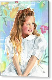 Girl In A White Lace Dress  Acrylic Print