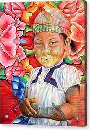 Girl In Flowers Acrylic Print by Karina Llergo