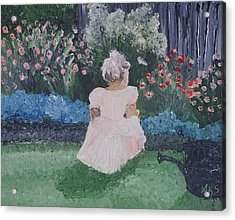 Girl In Garden Acrylic Print by Angela Stout