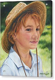 Girl In Straw Hat Acrylic Print