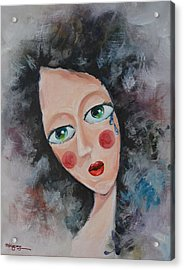 Girl In Tear Acrylic Print by Mikyong Rodgers