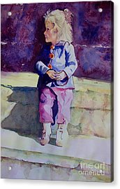 Girl In The Blue Jacket Acrylic Print by Janet Felts