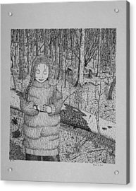 Acrylic Print featuring the drawing Girl In The Forest by Daniel Reed